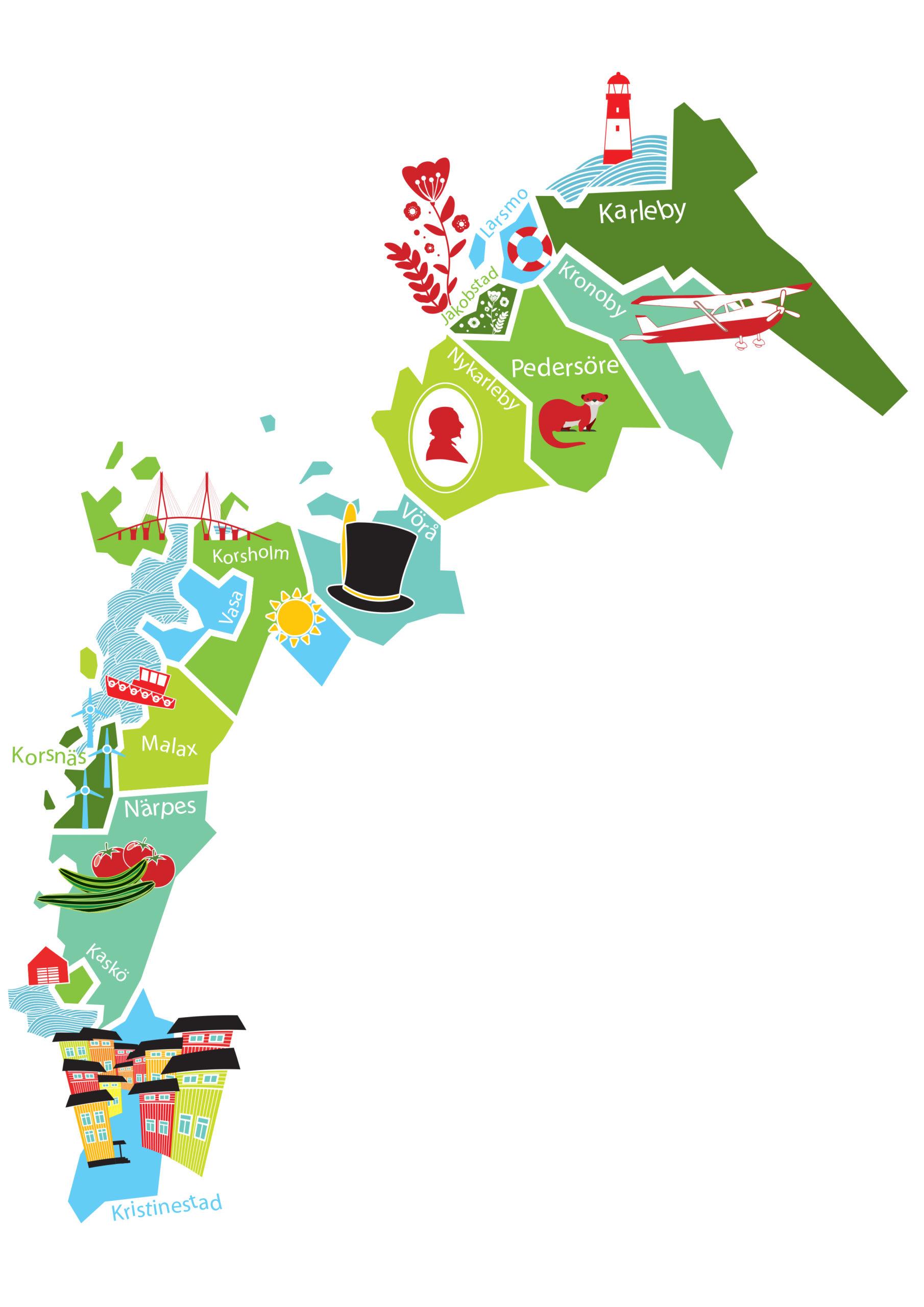 karta över Aktions Österbottens område, innehåller 14 kommuner som är Kristinestad, Korsnäs, Närpes, Kaskö, Malax, Korsholm, Vasa, Vörå, Larsmo, Pedersöre, Kronoby, Nykarleby, Jakobstad och Karleby. class=